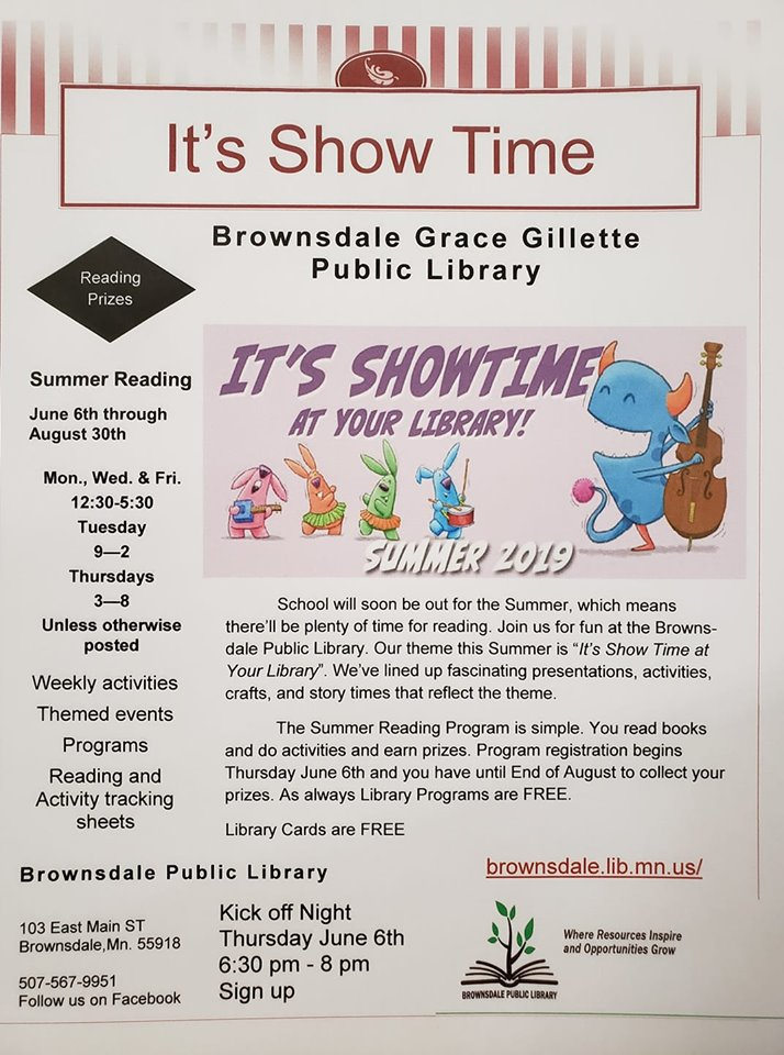 Brownsdale Summer Reading Program It's Show Time Activities, Events, Reading Prizes