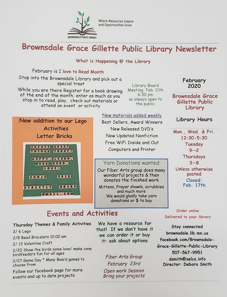 Brownsdale Public Library  February 2020 Newsletter