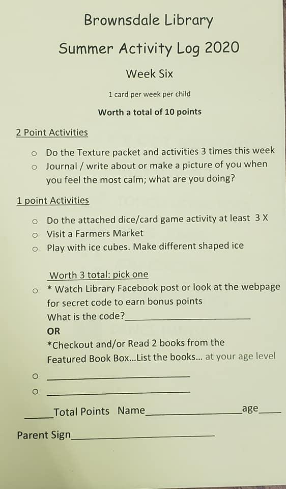 Summer Reading Activity Week Six