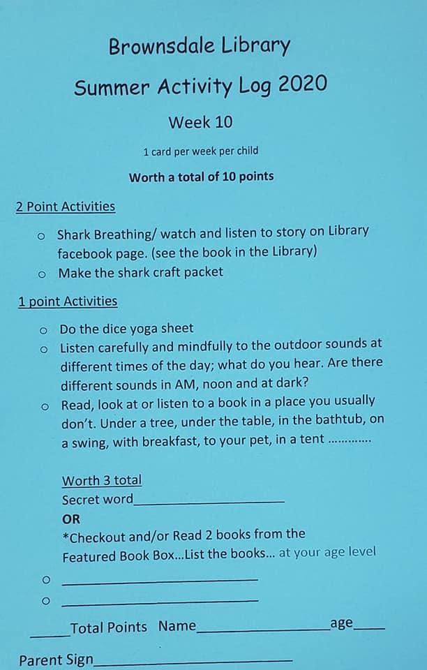 Summer Reading Week 10 Activity Sheet