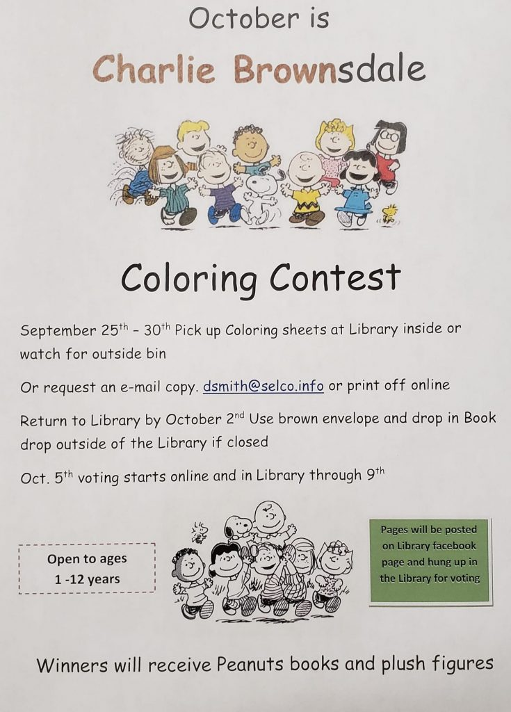 October is Charlie Brownsdale Peanuts Coloring contest