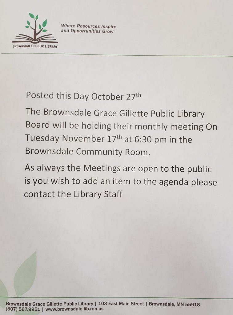 Library Board Meeting notice November 17th 2020 at 6:30 pm In the Community Center