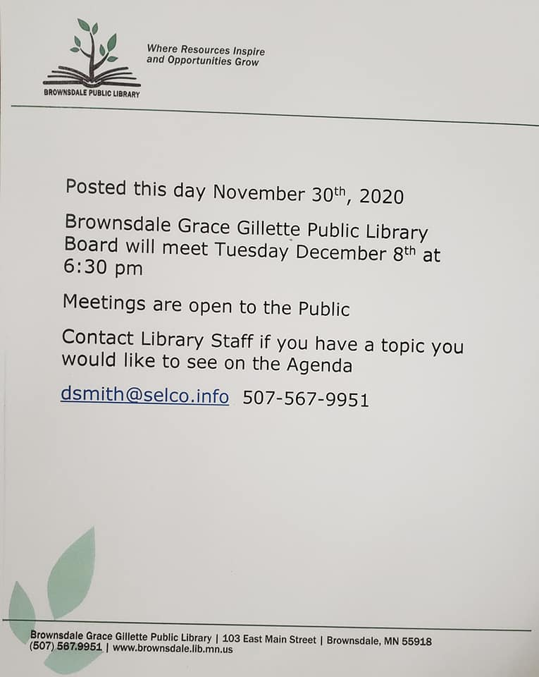 Library Board Meeting December 8th at 6:30 pm in the Community Center