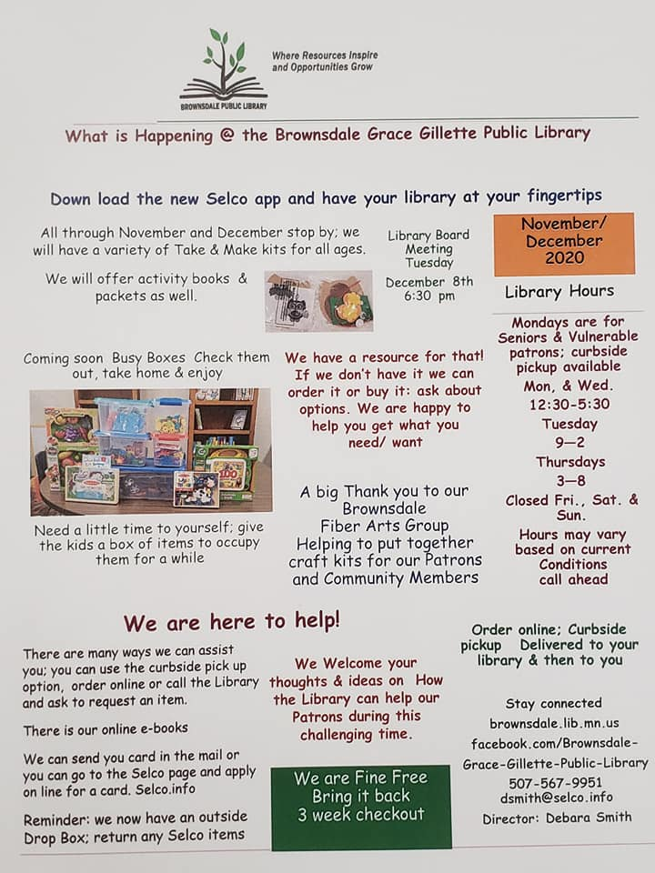 Brownsdale Library November & December Newsletter