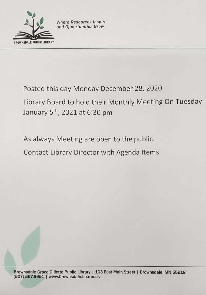 Monthly Library Board Meeting Tuesday January 5th at 6:30 pm