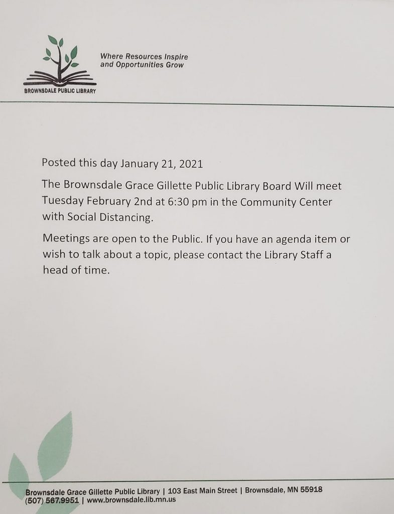 Library Board Meeting Notice for February 2nd 2021 at 6:30 pm