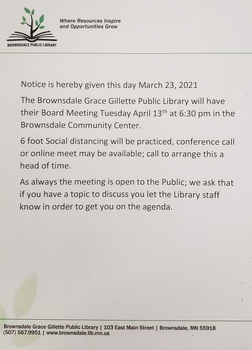 Library Board Meeting to happen Tuesday April 13th at 6:30 pm in the Community Center