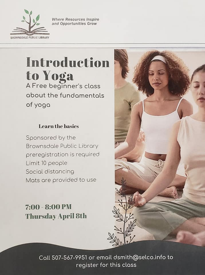 Beginner yoga at the Library Thursday April 8th at 7 pm