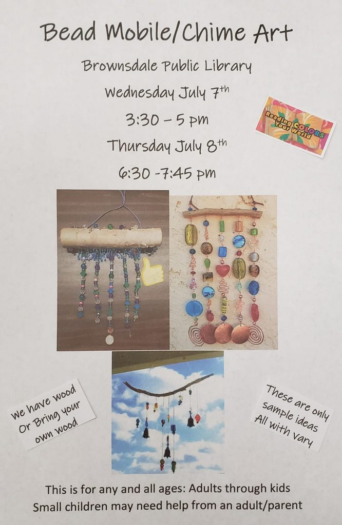 Library Art Program Summer Reading Project Make your own Bead mobile or bead chime art