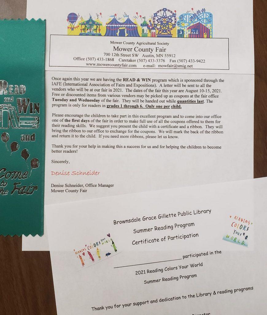 Summer Reading Program Awards and Fair Ribbons