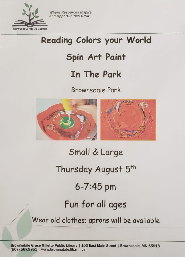 Come to the Park to do a spin painting project Dress to get messy