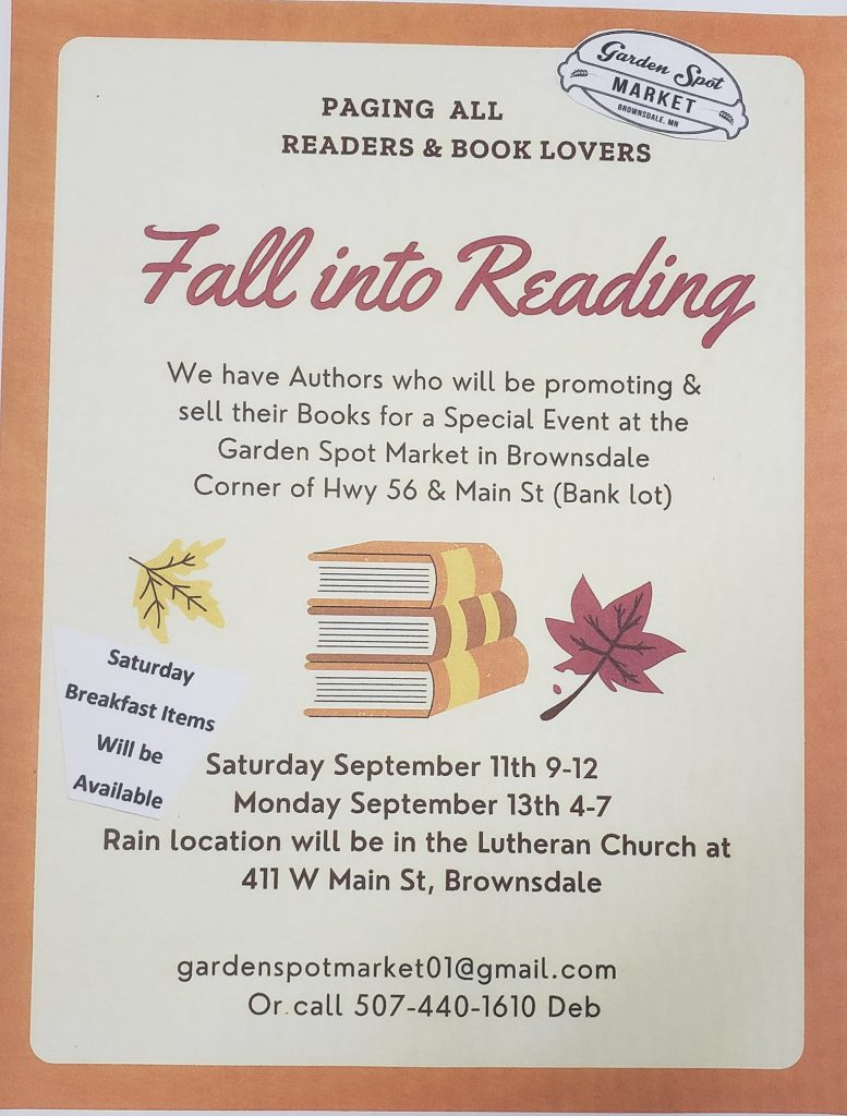 A variety of Local Authors will be set up at the Market Selling and talking about their books