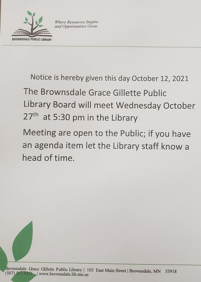 Library Board Meeting Wednesday October 27th at 5:30 pm